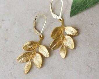 gold leaf earrings, gold drop earrings, gold earrings, matte gold earrings, leaf earrings