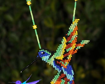 Necklace Huichol - Mexicano-artesania at Chaquira-Hummingbird-Edificio-hummingbird-Collar Mostacilla - beaded necklace-jewelry - Mexico