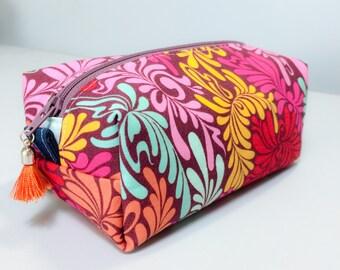 Colorful Boxed Makeup Bag, Zipper Pouch, Coin Purse Denim accents