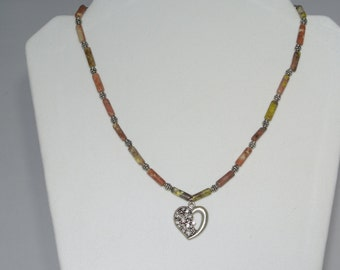 Watermelon Tourmaline Necklace with Heart Charm