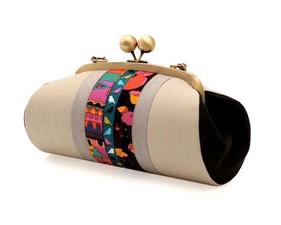 Large Clutch Purse with Strap, Kiss Lock Purse, Beige Clutch, Boho Evening Bag, Crossbody Clutch Bag, Beige Handbag, Unique Gifts for her