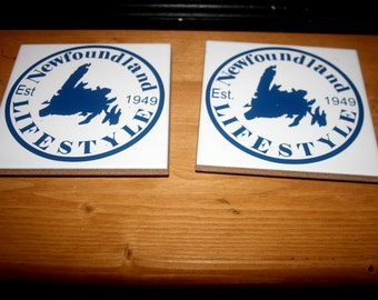 Newfoundland Coasters, set of 4 ceramic coasters- handmade