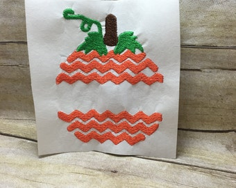 Pumpkin Embroidery Design, Chevron Pumpkin Embroidery Design