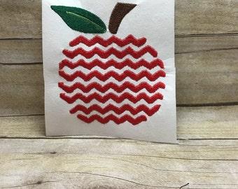 Chevron Apple Embroidery Design, Applw Chevron Embroidery Design