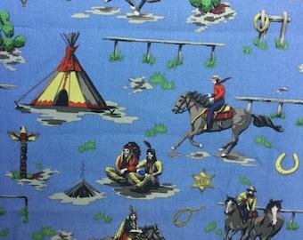 Wild West Cowboy Cotton Canvas Fabric BTM