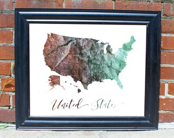 Map of United States Personalized United States Map Gift for Boss Gift for Coworker Rustic Wall Decor Unique Wall Decor Living Room Decor