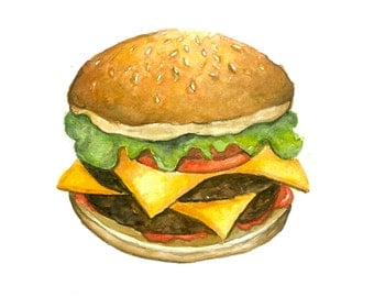 Burger Watercolor Print