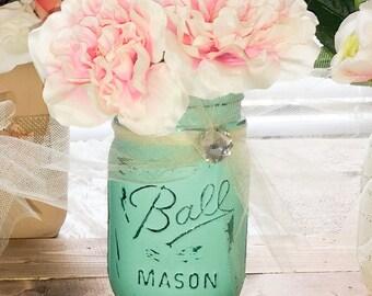 Painted Mason Jar, Mason Jar Vase, Distressed Mason Jar, Shabby Chic