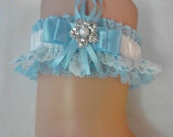 Blue laced Bridal Wedding Garter