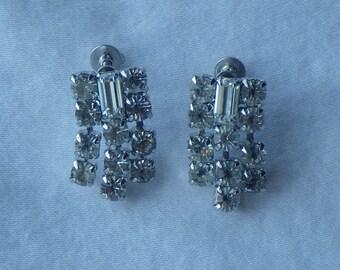 Vintage Rhinestone Drop Screw Back Earrings 1950's