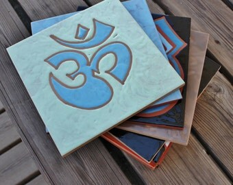 Om, Aum Symbol, Tiles, Kakel, Azulejos, Ceramic Tile, Handpainted, Original, Handcraft, Handmålad, Gift, Homedecor,