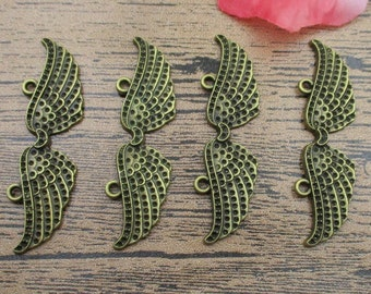 8 Wing Charms ,Antique Bronze Tone,pair of wings-RS035
