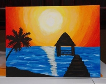 Acrylic painting ocean sunset