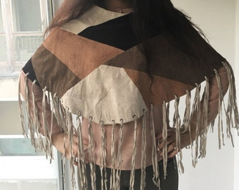 Poncho natural suede