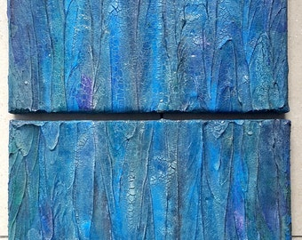 Canvas acrylic 36 x 24 painting set of 2 abstract Blau Bruch waterfall structures