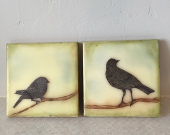 Perched birds, encaustic beeswax paintings, original paintings
