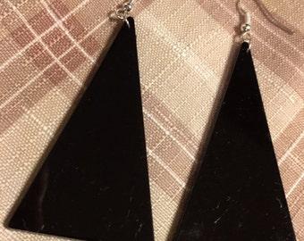 Slab of acrylic triangle earring