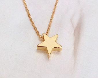 Gold Star Necklace, 14Kt Gold Filled, Tiny Gold Star Necklace, Small Gold Star, Star Charm, Dainty Gold Star, Delicate Everyday Necklace