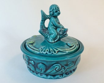 Trinket Box with Lid|Boy on Fish Handle|Ceramic|Vintage|Teal Blue|Jewelry Box|Jewelry Storage|Keepsake Box|Candy Dish with Lid|Gift Giving|