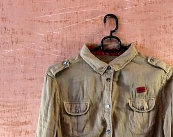 Vintage napapijri women shirt with embroidery. Vintage outdoor outwear.