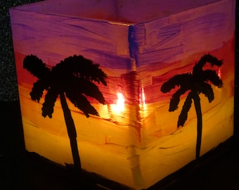 Palm Tree Silhouette Sunset Candle Holder