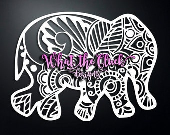 Paisley Elephant - Vinyl Sticker Decal - 6.75 in. x 5 in.