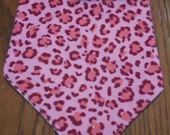 Pink Cheetah Print Bandanna Bib