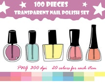 75% OFF SALE nail polish, manicure, pedicure, beauty, doodle Digital Clipart, Instant Download, Personal and Commercial Use