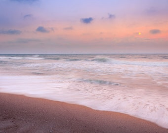 Outer Banks, OBX, North Carolina, Cape Hatteras, Beach Photography, Sunset, Seashore, Ocean, Full Moon, Picture, Fine Art, Home Decor