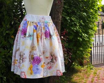 Handmade Glamour Girl Print Skirt Size 12