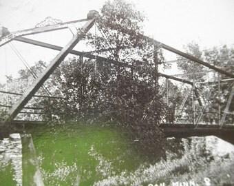 Early 1900's real Photo Postcard Creek Bridge Leroy  Minnesota RPPC Black and White Image