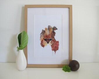 Watercolour Dripping Lion Face Print, Watercolour Print, Lion Art