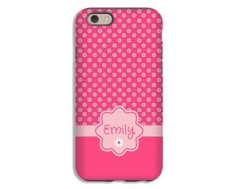 iPhone 7 case, pink polka dot iPhone 7 Plus case, pink iPhone 6s Plus case, iPhone cases for girls, iPhone 6s case/6 case, 3D case