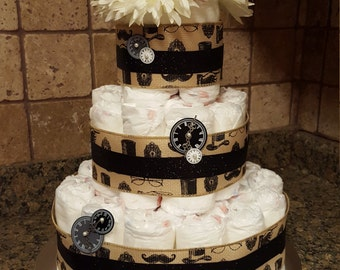 Vintage/Steampunk/Hipster Diaper Cake