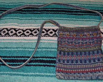 Vintage 80s 90s Bohemian Embroidered Denim Acid Wash Cross Body Mini Bag Purse