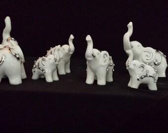 Indian Porcelain Elephant Family