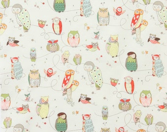 Owl Fabric | Cute Owl Material | Spotted Owl White | Alexander Henry Fabric | Bird Prints | Nursery Decor | Forest Fabric | Woodland Print