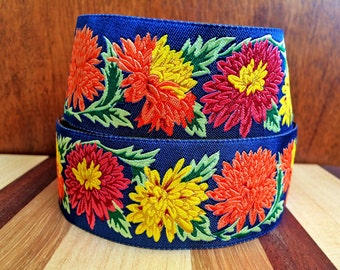 Chrysanthemums | Flower Ribbon | Philip Jacobs Ribbon | Renaissance Ribbons | Floral Craft Ribbon | 1.5 inch wide Ribbon