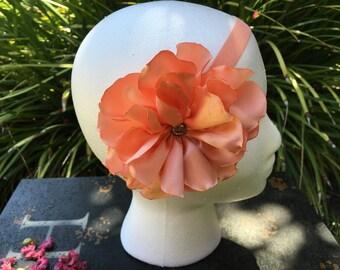 Orange Headband, baby headband, girl headband, flower headband