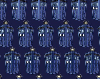 """Dreamland Doctor Who - BBC Doctor Who Tossed Police Public Call Box Fabric 100% cotton 44"""" wide fabric by the yard (G280)"""