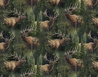 """ELK Fabric: Wild Wings Lazy Afternoon Elk & Pines  by Springs Creative 100% cotton Fabric by the yard 36""""x43"""" (N494)"""