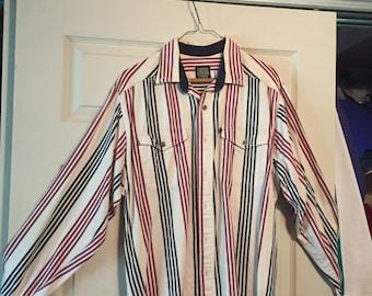 Vintage 1980's / 1990's Cowboy Western Striped Button 80's 90's Shirt