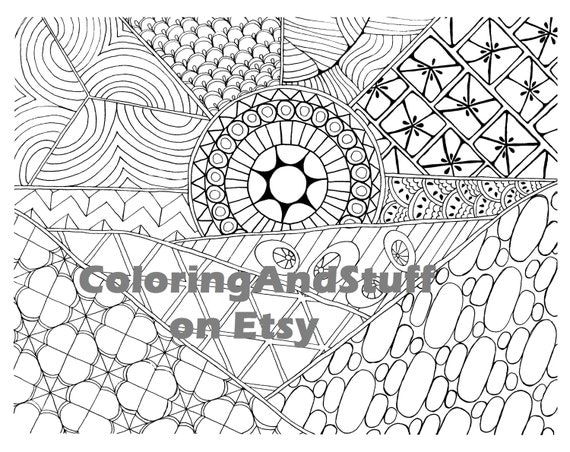 Sunrise Zentangle Adult Coloring Page By ColoringAndStuff