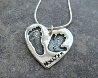 Large Handprint and Footprint Necklace