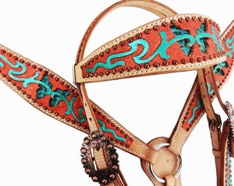 Turquoise Butterfly Western Horse Leather Bridle Headstall Breast Collar Tack Set