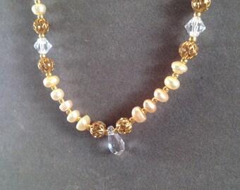 Handmade Swarovski and Freshwater Pearl Necklace Set