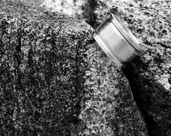 Sterling Silver Wide Band Rails Ring
