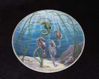 "1982 Hackett American Ocean Stars ""Sea Horses"" Collector Plate by Carl Pope"