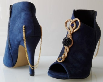 """Peep toes boots """"Autumn desire"""" Soutache Sutasz Blue Niebieski Blau gold Złoty berries Jeżyny BlackBerry"""