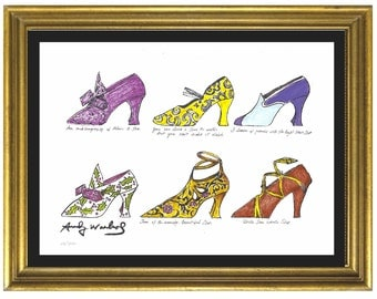 """Limited Edition Lithograph Print after Andy Warhol """"Six Shoes"""" Plate-Signed & Numbered (unframed)"""